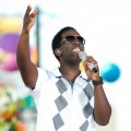 Shawn Stockman of Boyz II Men performing during the &#8216;Rachael Ray Show&#8217; at Pat&#8217;s King of Steaks in Philadelphia, PA., August 30, 2011