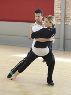 Kristin Cavallari wraps her leg around partner Mark Ballas as they rehearse for 'Dancing with the Stars' Season 13