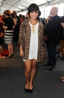 Vanessa Hudgens sports an animal print coat as she visits Lincoln Center during Spring 2012 Mercedes-Benz Fashion Week, New York City, on September 8, 2011