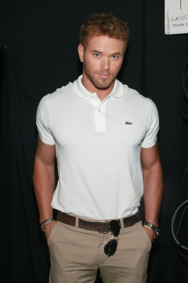 Kellan Lutz poses backstage at the Lacoste Spring 2012 fashion show during Mercedes-Benz Fashion Week at The Theater at Lincoln Center in New York City on September 10, 2011