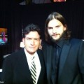 Charlie Sheen and Ashton Kutcher back stage at 2011 Primetime Emmy Awards in Los Angeles on September 18, 2011