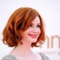 Voluptuous Christina Hendricks poses at the 63rd Annual Primetime Emmy Awards held at Nokia Theatre L.A. LIVE on September 18, 2011