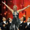 Jane Lynch belts it out onstage during the 63rd Primetime Emmy Awards at the Nokia Theatre L.A. Live in Los Angeles on September 18, 2011 