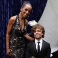 Access Hollywood's Shaun Robinson poses with 'Game of Thrones' Outstanding Supporting Actor Peter Dinklage backstage at the 63rd Annual Emmy Awards in Los Angeles on September 18, 2011