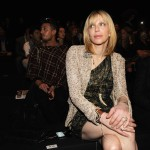 Courtney Love is spotted in the front row at the Roberto Cavalli Spring/Summer 2012 fashion show in Milan, Italy, on September 26, 2011 