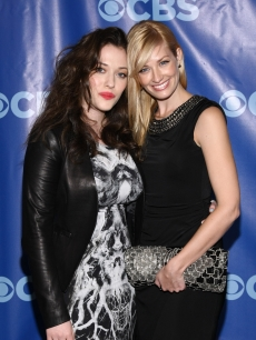 Kat Dennings and Beth Behrs attend the 2011 CBS Upfront at The Tent at Lincoln Center, NYC, on May 18, 2011