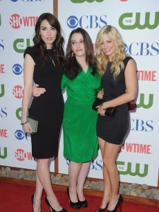 Whitney Cummings, Kat Dennings and Beth Behrs arrive at the TCA Party for CBS, The CW and Showtime held at The Pagoda, Beverly Hills, on August 3, 2011