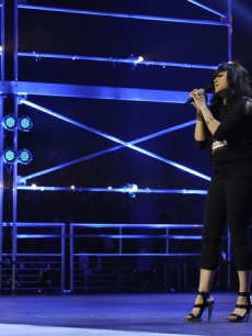 "Stacy Francis, 42, performs in front of the judges and thousands of audience members on ""The X Factor's"" debut episode on September 21, 2011"