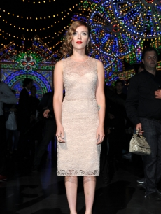 Scarlett Johansson is elegant in nude lace at the Dolce &amp; Gabbana Spring/Summer 2012 fashion show in Milan, Italy, on September 25, 2011