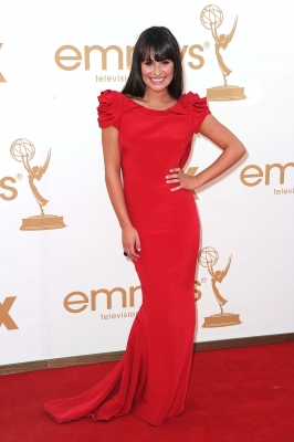 Lea Michele looks ravishing in red at the 63rd Annual Primetime Emmy Awards held at Nokia Theatre L.A. LIVE in Los Angeles on September 18, 2011