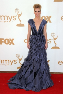 Heather Morris arrives at the 63rd Annual Primetime Emmy Awards held at Nokia Theatre L.A. LIVE on September 18, 2011 in Los Angeles
