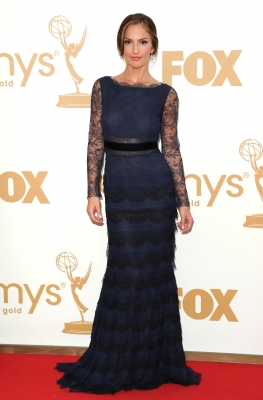 Minka Kelly stuns in blue at the 63rd Primetime Emmy Awards held at Nokia Theatre L.A. Live in Los Angeles on September 18, 2011