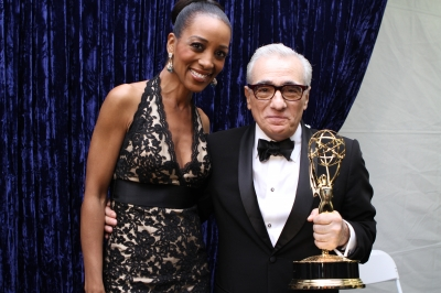 Access Hollywood's Shaun Robinson poses with Martin Scorsese, winner of Outstanding Directing for 'Boardwalk Empire' backstage at the 63rd Annual Emmy Awards in Los Angeles on September 18, 2011