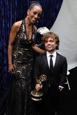Access Hollywood&#8217;s Shaun Robinson poses with &#8216;Game of Thrones&#8217; Outstanding Supporting Actor Peter Dinklage backstage at the 63rd Annual Emmy Awards in Los Angeles on September 18, 2011
