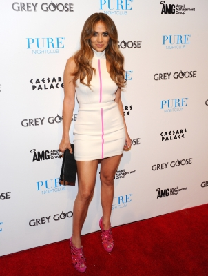 Jennifer Lopez arrives for an appearance at Pure Nightclub at Caesars Palace in Las Vegas on September 25, 2011