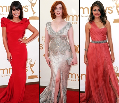 Lea Michele/Christina Hendricks/Sarah Hyland at the 2011 Emmys