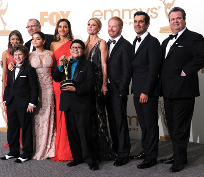 Sarah Hyland, Nolan Gould, Ariel Winter, Ed O'Neill, Sofía Vergara, Rico Rodriguez, Julie Bowen, Jesse Tyler Ferguson, Ty Burrell and Eric Stonestreet of 'Modern Family' pose in the press room after winning Outstanding Comedy Series during the 63rd Annual Primetime Emmy Awards