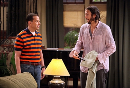 "Alan Harper (Jon Cryer) and Walden Schmidt (Ashton Kutcher) on ""Two and a Half Men"""