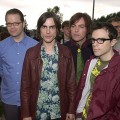 Pat Wilson, Brian Bell, Mikey Welsh and Rivers Cuomo of Weezer in June, 2001