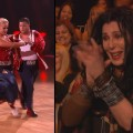 Chaz Bono and Lacey Schwimmer compete on &#8216;Dancing with the Stars&#8217; (left) and Cher cheers them on (right), Oct. 10, 2011