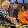 Celebrity chef and Food Network star Anne Burrell cooks up some goodies in the kitchen for Billy Bush and Kit Hoover on Access Hollywood Live on October 11, 2011