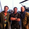 Arnold Schwarzenegger, Sylvester Stallone and Bruce Willis on 'The Expendables 2' set
