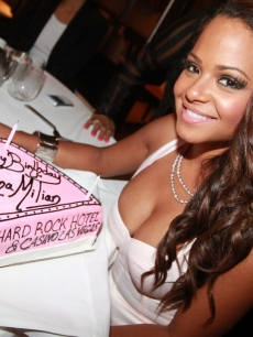 Christina Milian celebrates her 30th birthday at 35 Steaks + Martinis at the Hard Rock Hotel & Casino in Las Vegas, October 1, 2011