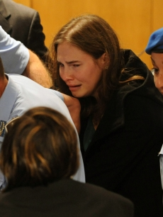 Amanda Knox reacts at the announce of the verdict of her appeal trial in the Meredith Kercher' murder, Perugia, Italy, on October 3, 2011