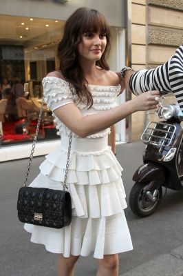 Leighton Meester is spotted leaving the 'Roger Vivier' store  in Paris, France, on September 30, 2011 in Paris, France