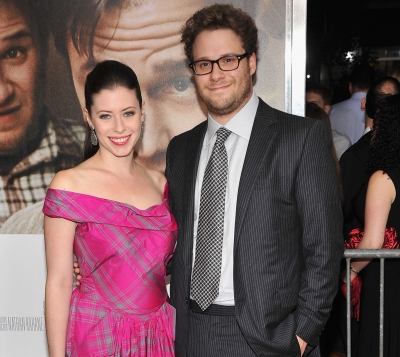 Seth Rogen and Lauren Miller attend the premiere of '50/50' at the Ziegfeld Theater in New York City on September 26, 2011