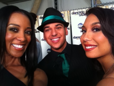 Access Hollywood&#8217;s Shaun Robinson, Rob Kardashian and Cheryl Burke backstage at &#8220;Dancing with the Stars,&#8221; Los Angeles, Oct. 3, 2011