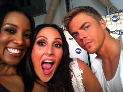 "Access Hollywood's Shaun Robinson, Ricki Lake and Derek Hough backstage at ""Dancing with the Stars,"" Los Angeles, Oct. 3, 2011"