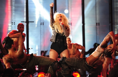 Christina Aguilera performs during the &#8216;Michael Forever&#8217; concert in memory of the late Michael Jackson at The Millenium Stadium in Cardiff, Wales, on October 8, 2011