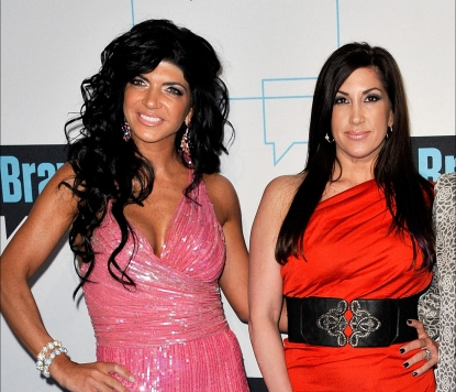 Teresa Giudice and Jacqueline Laurita attend the 2011 Bravo Upfront at 82 Mercer in New York City on March 30, 2011