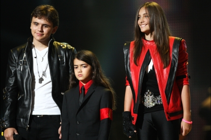 Prince Jackson, Blanket Jackson and Paris Jackson appear onstage at the 'Michael Forever' concert to remember the late Michael Jackson at The Millenium Stadium in Cardiff, Wales, on October 8, 2011