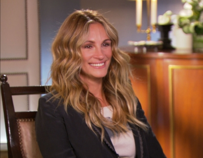 Julia Roberts chats with Access Hollywood Live's Billy Bush and Kit Hoover on October 10, 2011