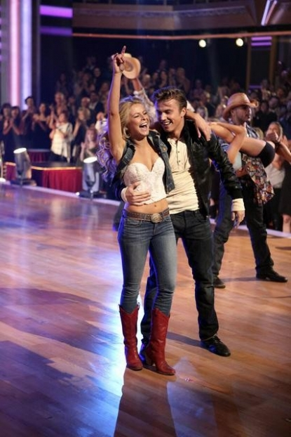 Julianne Hough and Kenny Wormald of 'Footloose' smile after performing on Week 4 of 'Dancing with the Stars,' Oct. 11, 2011