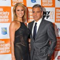 Stacy Keibler and George Clooney step out at the 49th Annual New York Film Festival screening of 'The Descendants' in New York City on October 16, 2011