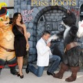 Salma Hayek and Antonio Banderas arrive at the premiere of Dreamworks Animation's 'Puss In Boots' at the Regency Westwood Theatre on October 23, 2011 in Westwood, California.