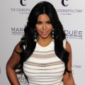 Kim Kardashian arrives for her birthday celebration at the Marquee Nightclub in The Cosmopolitan of Las Vegas in Las Vegas on October 22, 2011