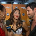 Access Hollywood's Shaun Robinson chats with Hope Solo and Maksim Chmerkovskiy backstage at 'Dancing with the Stars' on October 25, 2011