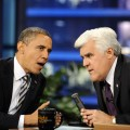 President Barack Obama chats with Jay Leno during a break 'The Tonight Show with Jay Leno' at the NBC Studios in Burbank, Calif., on October 25, 2011
