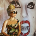 Lady Gaga poses for photographers at the beginning of a press conference at a local hotel in New Delhi on October 28, 2011