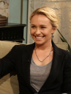 Hayden Panettiere chats with Billy Bush and Kit Hoover on Access Hollywood Live, Burbank, Calif., on October 13, 2011