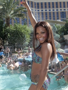 A sexy Christina Milian celebrates the end of summer at Azure Luxury Pool at The Palazzo in Las Vegas on October 15, 2011