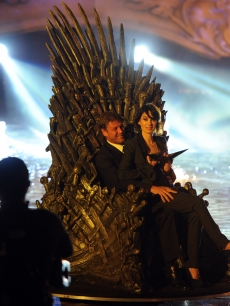 Sean Bean and Lena Headey on stage at the 2011 Scream Awards on the Universal Studios lot, Hollywood, Oct. 15, 2011