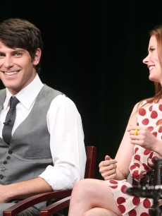 David Giuntoli and Bitsie Tulloch speak during the 'Grimm' panel during the NBC Universal portion of the 2011 Summer TCA Tour held at the Beverly Hilton Hotel, Beverly Hills, on August 1, 2011