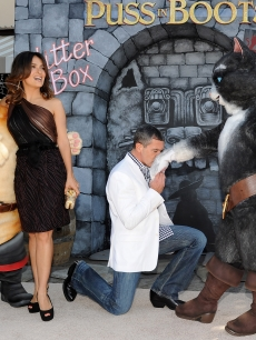 Salma Hayek and Antonio Banderas arrive at the premiere of Dreamworks Animation&#8217;s &#8216;Puss In Boots&#8217; at the Regency Westwood Theatre on October 23, 2011 in Westwood, California.