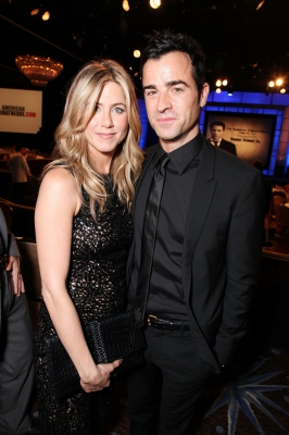 Jennifer Aniston and Justin Theroux smile at American Cinematheque's 2011 Award Show Honoring Robert Downey Jr. at The Beverly Hilton Hotel in Beverly Hills on October 14, 2011