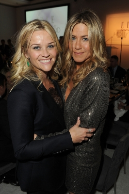 Reese Witherspoon and Jennifer Aniston attend ELLE's 18th Annual Women in Hollywood Tribute held at the Four Seasons Hotel in Los Angeles on October 17, 2011